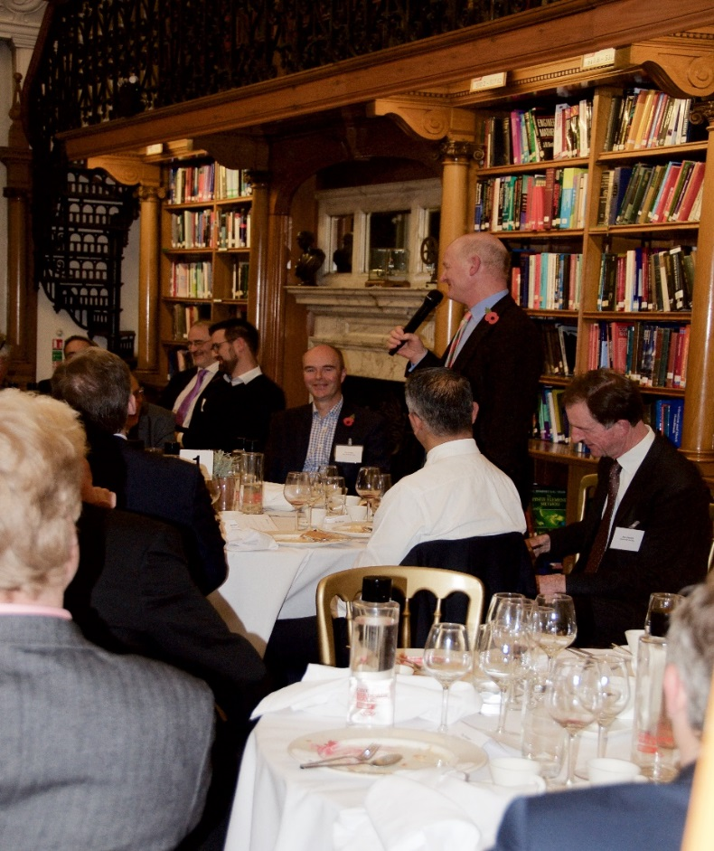 Lord Willetts engaging guests